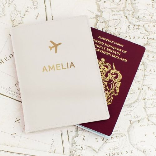 Personalised Gold Name Cream Passport Holder